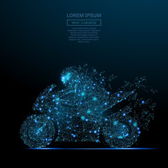 Abstract image of a motorcycle racing in the form of a starry sky or space, consisting of points, lines, and shapes in the form of planets, stars and the universe. Vector wireframe concept.