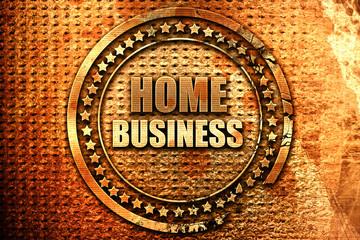 home business, 3D rendering, grunge metal stamp