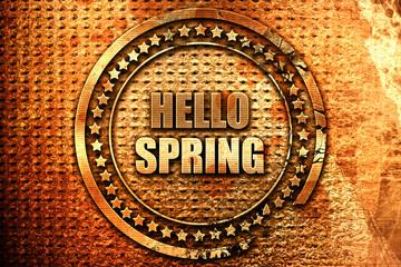 hello spring, 3D rendering, grunge metal stamp