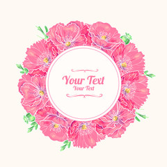 Flower frame with  pink poppies.Vector illustration