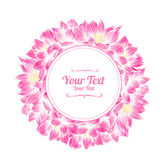 Flower frame with  pink  lotuses. Vector illustration