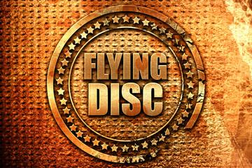 flying disc, 3D rendering, grunge metal stamp