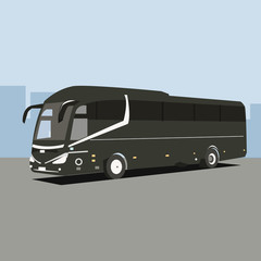 tour travel bus flat illustration
