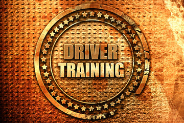driver training, 3D rendering, grunge metal stamp