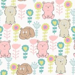 Vector seamless pattern with bear and flowers