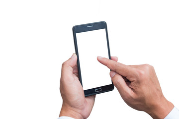 The human hands holding the smartphone and touch on mobile screen with isolate background