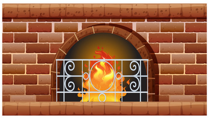 Fireplace made of bricks