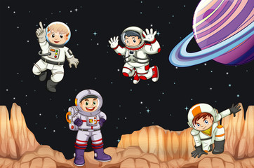Astronaunts flying in space