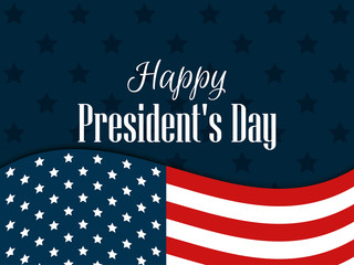 Happy Presidents Day. Festive banner with american flag and text. Vector illustration