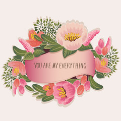 Vector illustration of a beautiful floral frame with a ribbon. Beige background