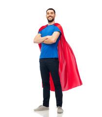 happy man in red superhero cape