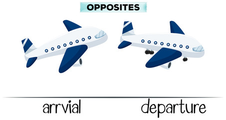 Flashcard for opposite words arrival and departure