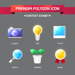 contest exhibit polygon icon set