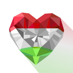 Vector crystal gem jewelry heart with the flag of the Hungary.