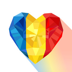 Crystal gem jewelry heart with the flag of the Romania.