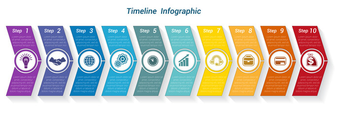 Template Timeline Infographic from colour arrows 9 position Wall mural