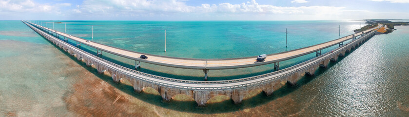 Florida Keys Bridge, beautiful sunset aerial view