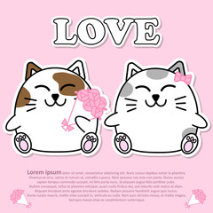 Lovely couple cute cat with bouquet of pink rose flower in Valentine and paper cut sticker concept