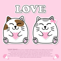 Lovely couple cute cat with pink heart in hand for Valentine and paper cut sticker concept