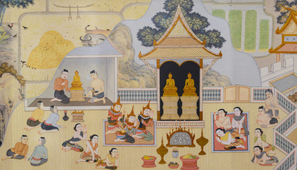 Buddhist temple mural painting in  Thailand