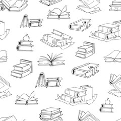 Doodle library book seamless vector pattern background