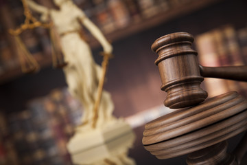 Law and justice concept, Brown wooden background, beautiful refl