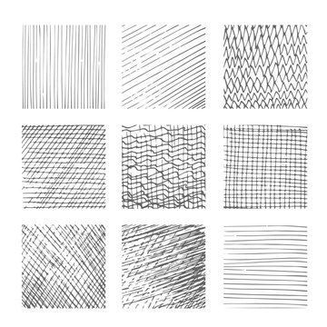 Hatching textures, cross lines, canvas pattern background vector set