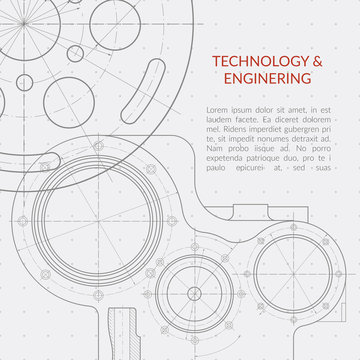 Abstract vector technology and engineering background with technical, mechanical drawing blueprint