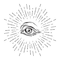 Hand-drawn grunge sketch Eye of Providence. Masonic symbol. All seeing eye. New World Order. Conspiracy theory. Alchemy, religion, spirituality, occultism vector illustration.