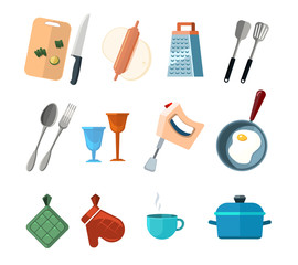 Vintage kitchen tools, home cooking vector icons set