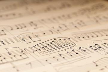 Old music sheet. Manuscript. Macro