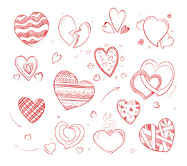 Hand drawn hearts vector doodle icons for wedding cards