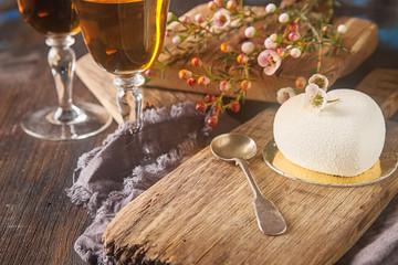Delightful, luxury mousse cake in the form heart. Valentine's Da