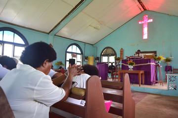Sunday service in Methodist Church in Fiji