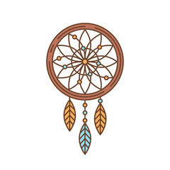 Flat dreamcatcher thin lined icon, indian symbol logotype