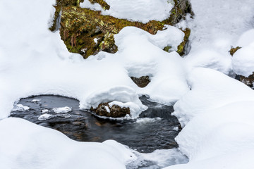 Winter stream with deep snow and water flows underneath. Early spring with melting snow.