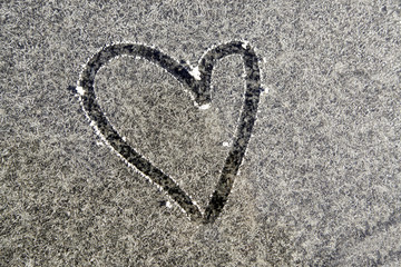 Heart drawn on ice