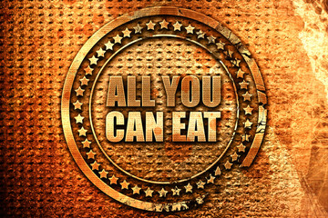 all you can eat, 3D rendering, grunge metal stamp