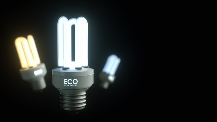 Energy saving lamp on a black background with the letters ECO Sa