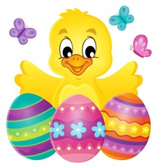 Fotobehang Draw Chicken with Easter eggs theme image 1