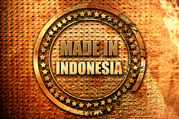 Made in indonesia, 3D rendering, grunge metal stamp
