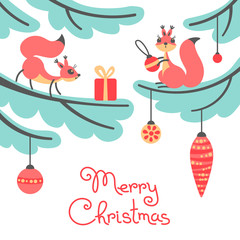 Merry Christmas. Cute little squirrels with gift on trees.