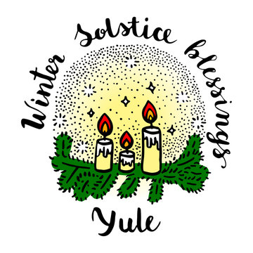 Yule (winter solstice day) greeting card with candles and fir branches.