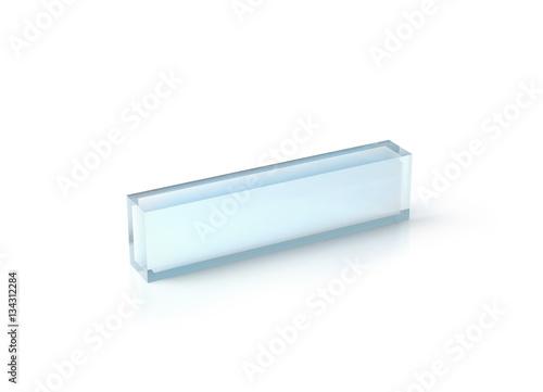 Blank Transparent Acrylic Desk Block Mockup 3d Rendering Clear