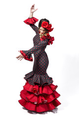 Portrait of young Flamenco dancer in beautiful dress