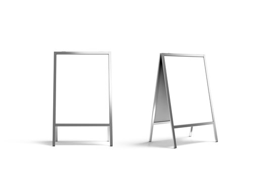 Blank white metallic outdoor stand mockup set, isolated, front and side view, 3d rendering. Clear street signage board mock up. A-board with metal frame template.