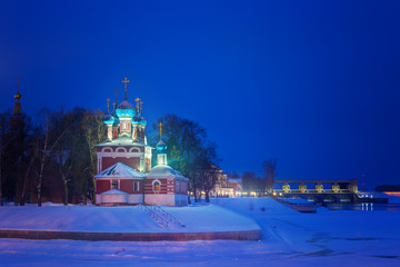 Russia. Church of St. Dmitry on the Blood in Uglich. Uglich City and the Volga River.