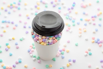 Cup of Love, small colorful pastel heart beads in paper cup and