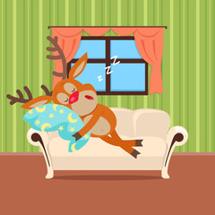 Sweet Sleeping at Home Cartoon Vector Concept