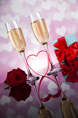 Champagne with Valentines day background and roses, mirror backg
